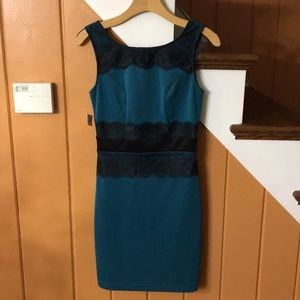 ModCloth Mystic Teal and Black Lace Bodycon Dress